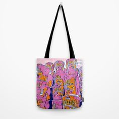 PopArt Noodles Pink in Milano Tote Bag by Emmanuel Signorino. Worldwide shipping available at Society6.com. Just one of millions of high quality products available. #art #tote_bag #fashion #pop_art