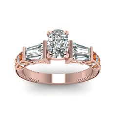 Sundry Design Cushion Cut diamond Side Stone Engagement Rings with Orange Sapphire in 18K Rose Gold exclusively styled by Fascinating Diamonds