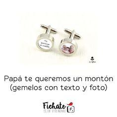 Que Papá sepa cuanto le quieres con este original regalo… Unos gemelos personalizados con la foto y el texto que tú elijas…  #RegalosFichate #Colgantes #Fichate #HandMade#HechosAMano #Regalos