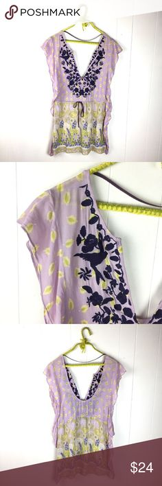 """Free People Sheer Purple Floral Embroidered Tunic Awesome Free People tunic. Semi sheer boho floral print with bird and flower embroidery. Drawstring tie waist. Flutter edges. Not lined, no slip. Very good condition. Size 6. 70% viscose, 30% cotton. 32"""" long. 17"""" underarm to underarm. Free People Tops Tunics"""