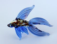 Fish Miniature, Russian Murano Art Blown Glass Figurine, Animal Colorful Realistic Sculpture We package and ship blown glass miniatures as