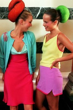 Kate Moss and Jade Jagger in Mathew Williamson after the runway show // Candy brights, red, turquoise, pink, yellow