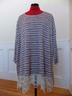 BUY IT NOW! Knit Blouse Wide Crochet Lace Hem Faded Glory Plus Size 3X 22W 24W Stretchy  | eBay