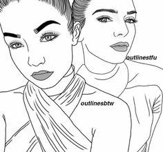 Teenage Drawings, Tumblr Drawings, Bff Drawings, Tumblr Art, Tumblr Girls, Black Girl Art, Art Girl, Girl Tumbler, Girl Outlines