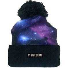 """NY STATE OF MIND """"The Intergalactic"""" Knit Beanie w/ Pom ($35) ❤ liked on Polyvore featuring mens, men's accessories, men's hats and galaxy"""