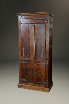 Rare 18th century Alpine shepherds cupboard made in chestnut. Used in confined spaces, circa 1750. #antique #cupboards
