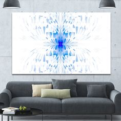 Designart 'Blue Butterfly Outline on White' Extra Abstract Canvas Art Print Canvas