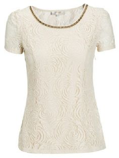 Apricot Short Sleeve Metal Embellished Lace Blouse US$23.88