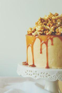 Butter Caramel Popcorn Cake