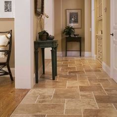 Tile transitioning to wood floor, Great belend of color pallette.   San Francisco Hall Photos Subway Tile Design, Pictures, Remodel, Decor and Ideas - page 5