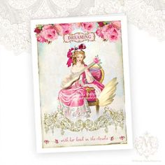 Marie Antoinette Greeting Card Dreaming Valentines by mulberrymuse,