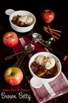 - Apple, Pear & Quince Brown Betty Recipe Apple, Pear & Quince Brown Betty by Back to the Cutting Board Pear Quince, Apple Recipes, Fall Recipes, Brown Betty, American Desserts, Ginger Snap Cookies, Apple Pear, Apple Crisp, Caramel Apples