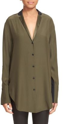 Rag + Bone Colorblocked Silk Leighton Shirt {worn by Gina Tognoni's Phyllis ♥ The Young + The Restless}