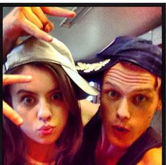 """Sam (Jamie) and Rosie (Mary Hawkins) """"chillin"""" while filming In The Heart of Lightness..."""