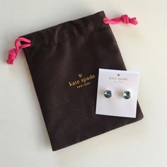"""Kate spade studd earrings These are brand new Kate spade studd earrings with like a light blue stone color.. the tags r attached and the dust bag does come with it too.. The color is """"Grace Blue"""" with gold.. no trades plz.. ❌price is firm❌ kate spade Jewelry Earrings"""