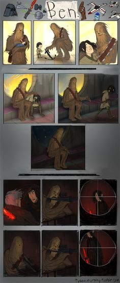 Tyson Murphy, the Lead Character artist at Blizzard Entertainment, created this bittersweet comic on his Tumblr. It tells the story of Kylo Ren's turn to the Dark Side from Chewbacca's perspective. Like Brian Kesinger's Calvin & Hobbes/Star Wars mashups, Murphy's comic goes back to the innocence of childhood to evoke some real emotion for this heartbreaking strip.