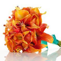 Buchet de mireasa - crin orange 2