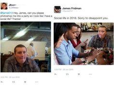 Jovem edita fotos de maneira literal e o resultado é hilário