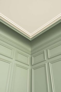 How to Apply Paneling or Beadboard Wainscoting Living Room Fans, Mint Green Aesthetic, Orac Decor, Wall Molding, Crown Molding, Molding Ceiling, Panel Moulding, Ceiling Fans, Green Wallpaper