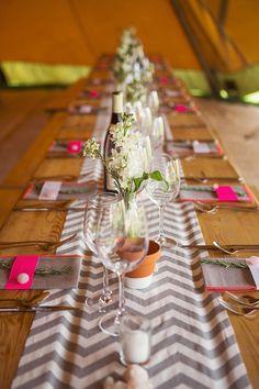 Chevron Table Cloths Runners Decor Stylish Creative Wild Flower Crowns Tipi Wedding http://www.cottoncandyweddings.co.uk/