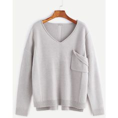 Grey Pocket Front Ripped Back High Low Sweater ($27) ❤ liked on Polyvore featuring tops, sweaters, grey, loose fitting sweaters, ripped sweater, loose tops, long loose tops and loose sweater