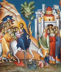 Entry Into Jerusalem - Nowadays commemoration of Palm Sunday Byzantine Icons, Byzantine Art, Christian Warrior, Christian Art, Religious Icons, Religious Art, Jerusalem, Christian Religions, Picture Icon