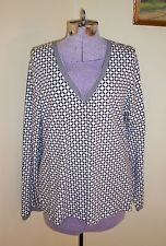 "NWT Women's Size XL Top Shirt Blouse Tunic 46"" Bust Charter Club Black White SEE"