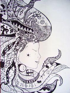 Zentangle Hair - student work - Vanessa Middle School Art Projects, Visual, Drawings, Zentangle, Doodles, Art, Humanoid Sketch