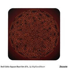Red Celtic Square Knot Set of 6 Coasters