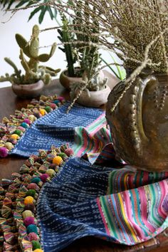 Table runner made from vintage Guatemalan textiles on Etsy, US$130.00