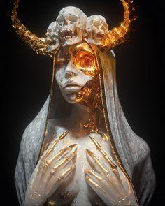 † Necro Mary † on Behance Dark Fantasy Art, Dark Art, Fantasy Artwork, Arte Obscura, Gold Aesthetic, Maquillage Halloween, Wow Art, Horror Art, Skull Art
