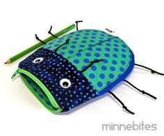 Beetle Pencil Bag by MinneBites / Handmade Toy Bag von minnebites