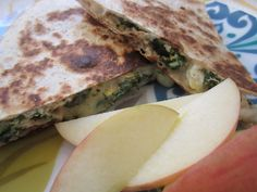 """spinach, egg and cheese tortillas for breakfast   from """"The Full Plate Blog"""""""
