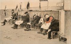 Jules De Bruycker - Tekeningen - potlood, inkt, ingekleurde, krijt - Dessins - Drawings/B0280 RUSTHUIS TE LOUSBERGEN (LOUSBERGSKAAI TE GENT)