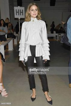 Olivia Palermo attends the Jonathan Simkhai fashion show during New York Fashion Week The Shows at Gallery 1 Skylight Clarkson Sq on September 9 2017...