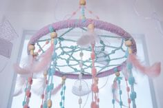 Baby Mobile Dreamcatcher Nursery decor Pink by MagicalSweetDreams