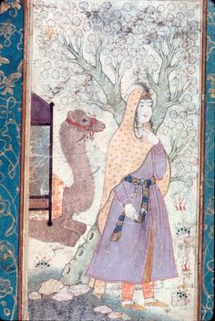 Woman and camel in landscape  Persian mid-17th century