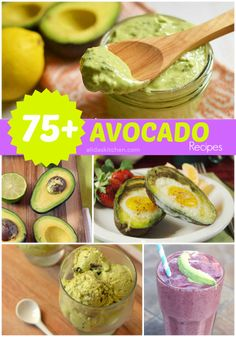 Over 75 Avocado recipes. I'm an avocado fan, for sure. I Love Food, Good Food, Yummy Food, Yummy Yummy, Vegetarian Recipes, Cooking Recipes, Healthy Recipes, Diet Recipes, Quinoa Bites
