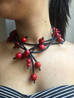 Plastic choker necklace - one of a kind bold jewelry - bold jewelry - pvc necklaces - black pvc necklaces - bold jewels - plastic jewels - made in Italy This gorgeous messy piece is stand out. Easy to wear but always remarkable. Wear it long or wrap it round. Soft, smooth light. It is made in PVC and resins beads is Ultra-light and modern. It can be worn two different ways, Every piece is handmade by me. I love simple and clean lines, I really think that Less is More Great with every kind…