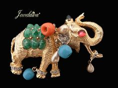 Vintage Signed DeNicola Elephant Pin http://www.jeweldiva.com/vintage-signed-denicola-elephant-pin.html