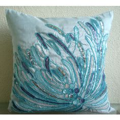 Almohada decorativa cubiertas acento almohada sofá sofá almohada 16 x 16 pulgadas cubierta de almohada de seda azul bordada salón Casa Decor agua explosión