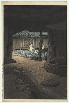 Kawase Hasui (1883 - 1957) Japanese Woodblock Print   Modan Viewpoint, Pyongyang, Korea, 1940