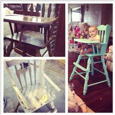 """DIY vintage wooden highchair refinish. $20 at thrift store. Sanded, painted with """"mint majesty"""" flat indoor paint, and finished with 3 coats water based minwax polycrylic."""