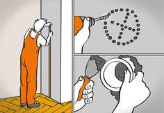 Der Anschluss für das Rauchrohr beim Aufstellen des Kaminofens wird ausgemessen, aus der Wand gebohrt und vermörtelt.