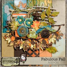Digital Scrapbooking Studio Fabulous Fall - The Add-On - Designed to coordinate with Fabulous Fall, the full kit, the add-on kit is also full of colour - transitioning bright bright summer colours to the oranges, browns of greens of all. You can scrap outdoor pictures, but it's also suitable for family photos as well. The add-on kit contains 10