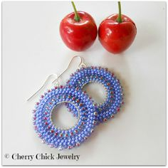 Beaded Hoop Earrings ~ Periwinkle Blue, Lavender and Silver ~ Small Hoops by Cherry Chick on Etsy