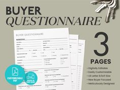 Buyer Questionnaire Real Estate Flyer Real Estate Template | Etsy