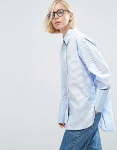 ASOS | ASOS Stripe Cotton Shirt with Deep Cuff & Button Side
