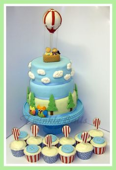 1st Birthday cake with Balloon Topper