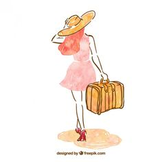 Hand painted woman with a suitcase Free Vector